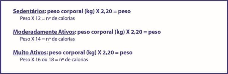 formas de calcular o valor calórico das necessidades diárias